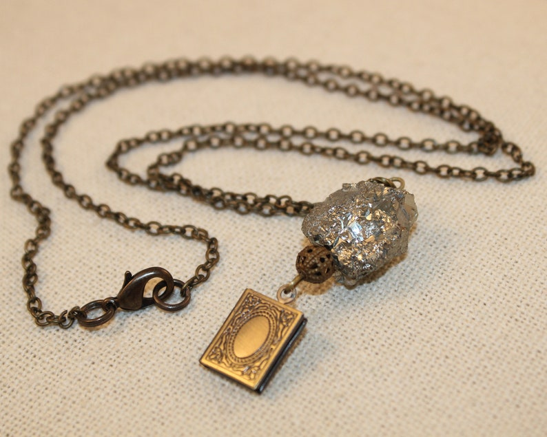 Locket Necklace Raw Crystal Pyrite Pendant Long Chain Book image 0