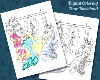 Amelie & Algo - Princess Dragon Coloring Page - Exclusive Online Only Coloring Page - Art Printable Digital Download Coloring for Grown-Ups