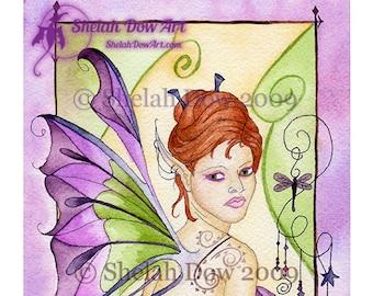 Arcadia Fairy Art Print by Shelah Dow - 8x10 Reproduction Print of Watercolor Painting