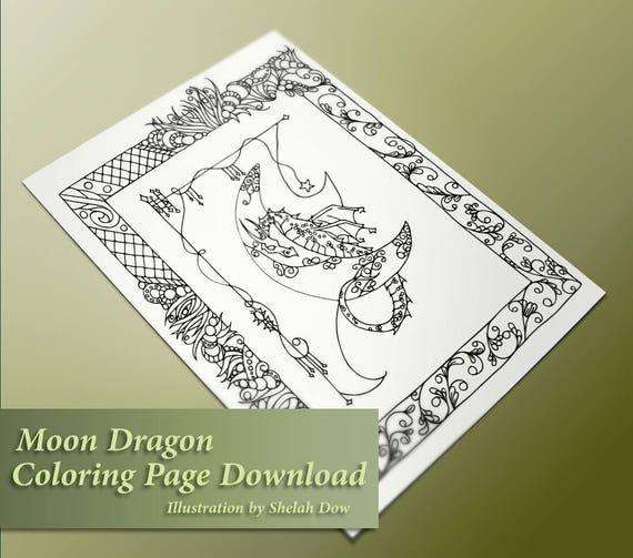 Luna Dragon página de adultos para colorear detallada | Etsy