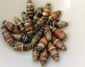Recycled Magazine Beads Browns and Tans - Paper Beads, Loose Jewelry Supplies