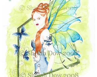 Butterfly Fairy Art Print by Shelah Dow - 8x10 Reproduction Print of Watercolor Painting