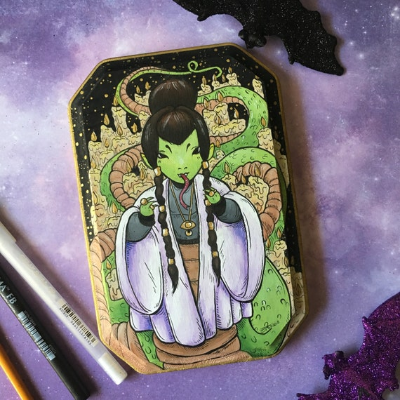 Come to meeeeee    Creepy cute little snake witch OOAK painted wooden  plaque/art/wall hanging