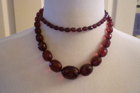 Cherry Amber Faceted, Bead necklace