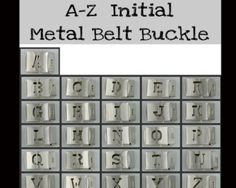 """1 BUCKLE - 1 1/4"""" - Cut Out Block Letter - Belt Buckle, 1.25, Military Style with TIP, You Choose A - Z"""