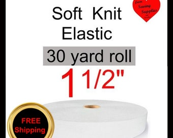 """30 yard roll - 1 1/2"""" - Soft Knit Waistband ELASTIC - 1.5"""" - White - FREE ship from WI"""