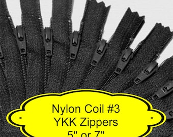 """24 ZIPPERS - 5"""" or 7"""" - YKK Nylon Zippers - 5 inch or 7 inch -  Size 3 - BLACK - Closed End - Non-separating"""