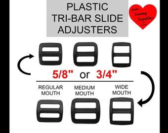 """50 PIECES - 5/8"""" or 3/4"""" - Strap Adjuster, 5/8 or 3/4 inch, 15.8  or 20 mm, Tri Bar, 3-Bar Slide, Heavy Duty Polyacetal Plastic"""