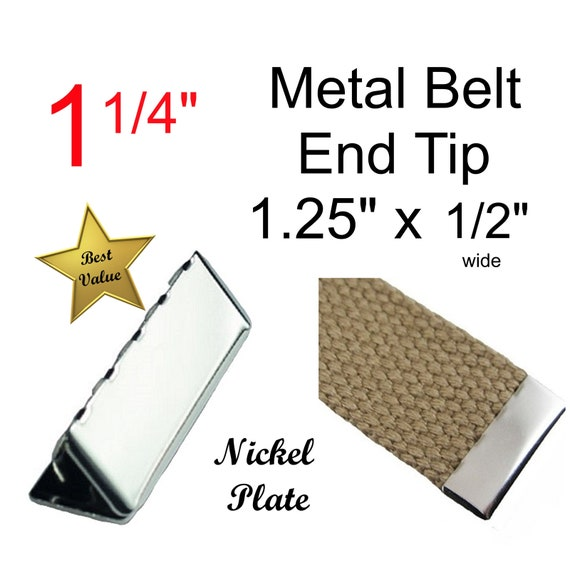 - Nickel Plated 1 Inch 25mm 50 Metal Belt Buckle End Tips for Cotton Webbing