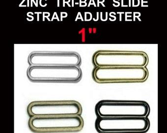 "10 or 20 PIECES - 1"" - Metal ZINC Diecast Slide - Tri-bar Buckle Purse Strap Adjuster - Nickel Plate, Black, Antique Brass or Brass Plate"