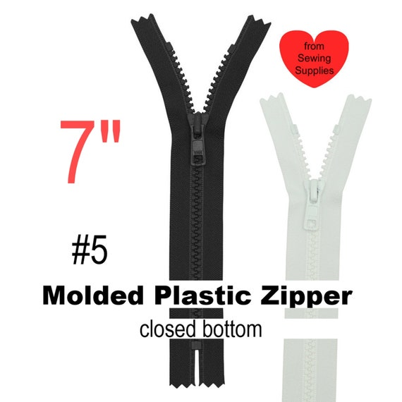 "16/"" #5 Molded Plastic Zipper~Separating~White~YKK 100"