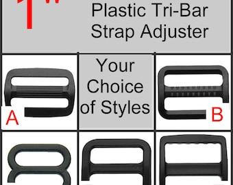 "10 or 20 PIECES - 1"" - Strap Adjuster, 1 inch, Heavy Duty Polyacetal Plastic, Tri Bar, 3 BAR Slide - Choose Your Style"