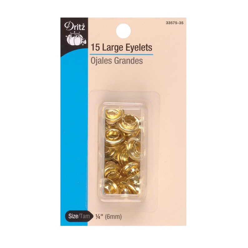 Gold or Silver 6.35mm Choose The Kit or Refill Package Dritz Eyelet Kit 14 Large with Attach Tool 12 pieces