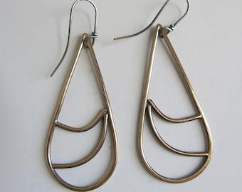 READY TO SHIP flow brass sterling silver earrings boho fashion rustic mixed metal handmade