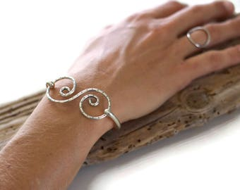 double spiral bracelet cuff latching caribbean sterling silver
