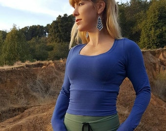 Long sleeved crop top made from organic cotton by Herban Devi