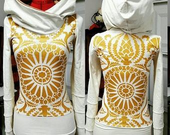 Hoodie top with stained glass motif  by Herban Devi, hemp hoodie,custom made, organic clothing