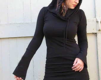 Hooded Black Dress with extra long sleeves, mini dress with long sleeves and hood, organic, custom fit, hemp clothing