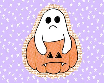 GLOOMY GHOST PUMPKIN - gloss vinyl sticker - Feeling Gloomy - it's ok to not be ok
