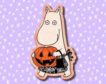 HALLOWEEN MOOMINMAMMA with PUMPKIN - spooky halloween moomin gloss vinyl sticker