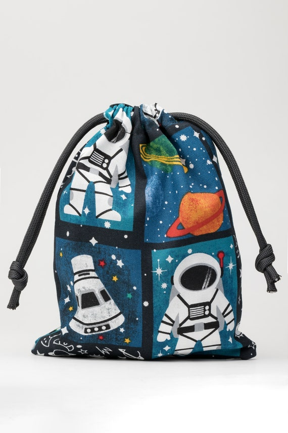 Astronaut party bag.Personalize birthday favor bag.Space drawstring bag.Astronaut birthday.Space birthday favor.Custom cotton favor bag