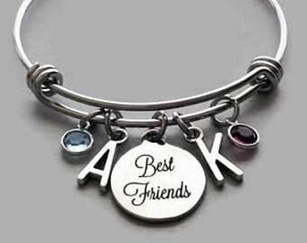 Best Friends Charm Bracelet, Best Friends Bracelet, Friendship Charm Bracelet, Initial Charm, Birthstone Charm, Stainless Steel