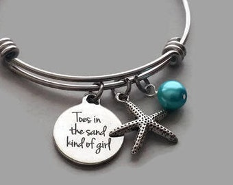 Beach Charm Bracelet, Toes In The Sand Kind Of Girl, Beach Bracelet, Starfish Charm, Starfish Bracelet, Beach Bangle, Stainless Steel