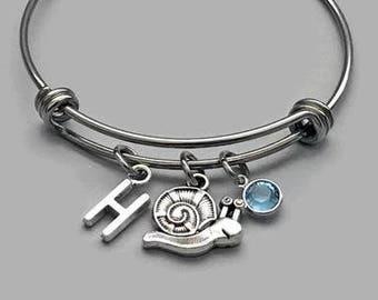 Snail Charm Bracelet, Snail Bracelet, Gardening Bracelet, Garden Charm, Birthstone Bracelet, Initial Charm, Stainless Steel