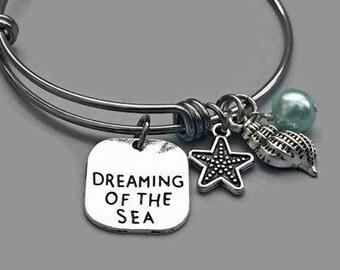 Beach Charm Bracelet, Beach Bracelet, Starfish Bracelet, Seashell Charm, Dreaming Of The Sea, Charm Bangle, Stainless Steel Bangle