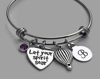 Let Your Spirit Soar Bracelet, Hot Air Balloon Charm Bracelet, Hot Air Balloon Bangle, Graduation Bracelet, Inspirational Charm Bracelet