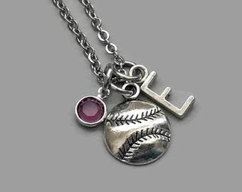 Softball Charm Necklace, Softball Necklace, Baseball Necklace, Baseball Charm, Initial Necklace, Birthstone Necklace, Personalized
