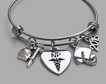 NP Bracelet, NP Charm, Nurse Practioner Bracelet, Nurse Practitioner Charm, Charm Bangle, Graduation Bracelet, Nurse Jewelry
