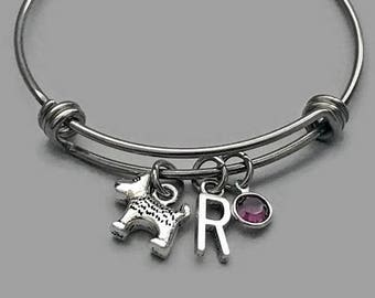 Dog Charm Bracelet, Dog Bracelet, Dog Jewelry, Dog Bangle, Dog Lover, Initial Bracelet, Birthstone Bracelet, Stainless Steel Bangle
