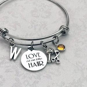 Hair Stylist Love Charm Bangle for Women Hairdresser Bracelet Gift for Hairstylists