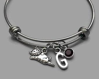 Cat Charm Bracelet, Cat Bracelet, Cat Jewelry, Kitty Charm, Cat Lover, Initial Bracelet, Birthstone Bracelet, Stainless Steel Bangle