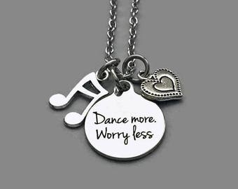 Dance Necklace, Dance Charm Necklace, Dance More, Worry Less, Music Note Charm, Heart Charm, Dance Teacher, Music Teacher, Stainless Steel
