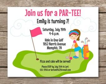 Carte invitation anniversaire mini golf