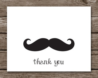 Mustache Thank You Etsy