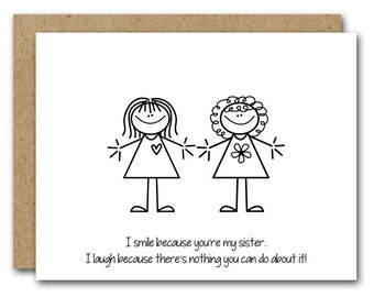 PRINTABLE Sister Birthday Card INSTANT DOWNLOAD Funny Friend