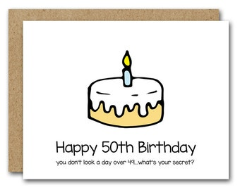 50th Birthday Card Funny INSTANT DOWNLOAD Happy Fiftieth Turning 50 Greeting