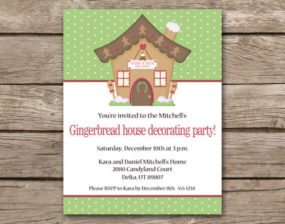 Printable Gingerbread House Party Invitation Gingerbread Etsy