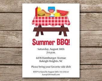 BBQ Invitation, bbq Invite, Barbecue Invitation, Barbeque Invitation, Cookout Invitation, Summer bbq Invitation, PRINTABLE