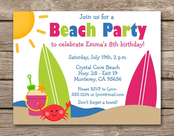 Shocking image with beach party invitations free printable