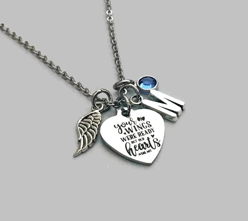 Memorial Jewelry Daughter Mom Stainless Steel Your Wings Were Ready But Our Hearts Were Not Memorial Necklace Son Brother Sister Dad