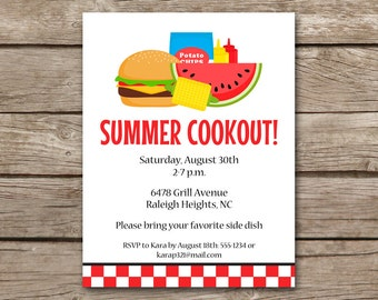 Summer BBQ Invitation, bbq Invitation, Cookout Invitation, Cookout Invite, Barbecue Invitation, Barbeque Invitation, PRINTABLE