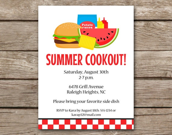 summer bbq invitation bbq invitation cookout invitation etsy
