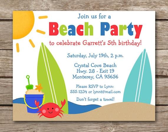 Beach invitation beach party invitation beach birthday etsy image 0 filmwisefo