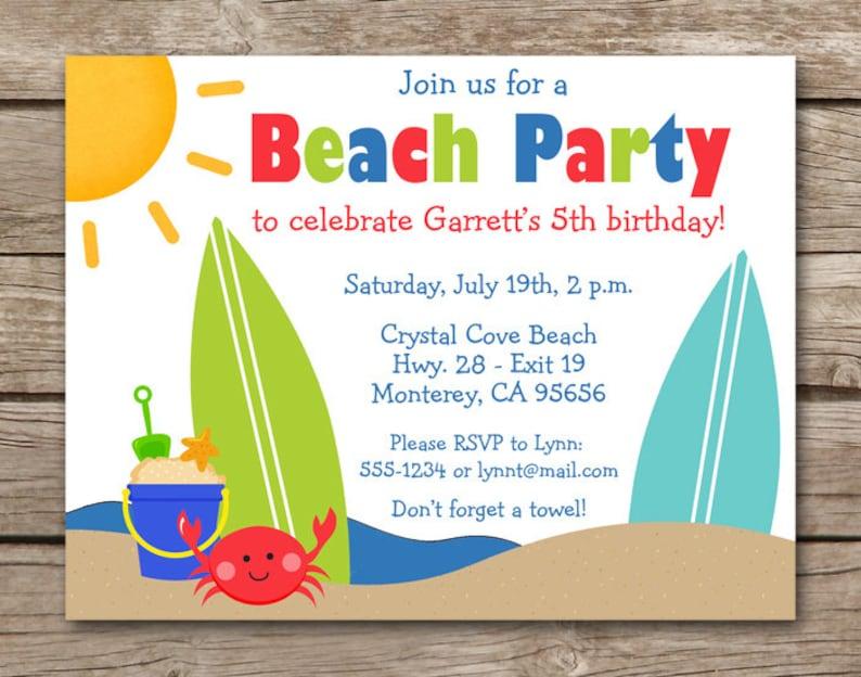Beach Invitation Beach Party Invitation Beach Birthday Etsy