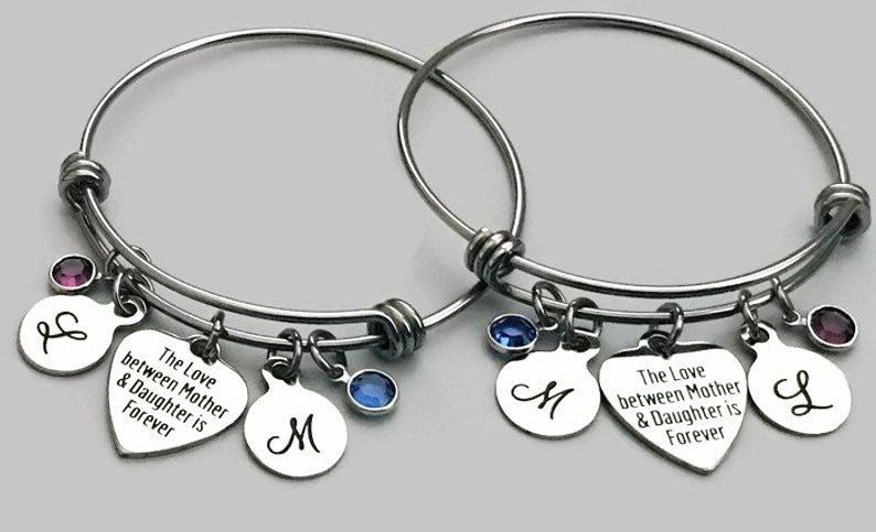 Mother Charm Bracelet Stainless Steel Mother Daughter Charm Bracelet Set Daughter Charm Bracelet Mother Daughter Jewelry