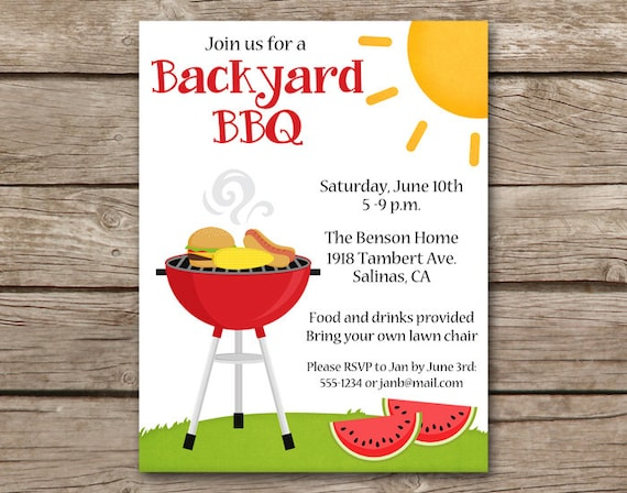 BBQ Invitation Bbq Invite Barbecue Invitation Barbeque Etsy